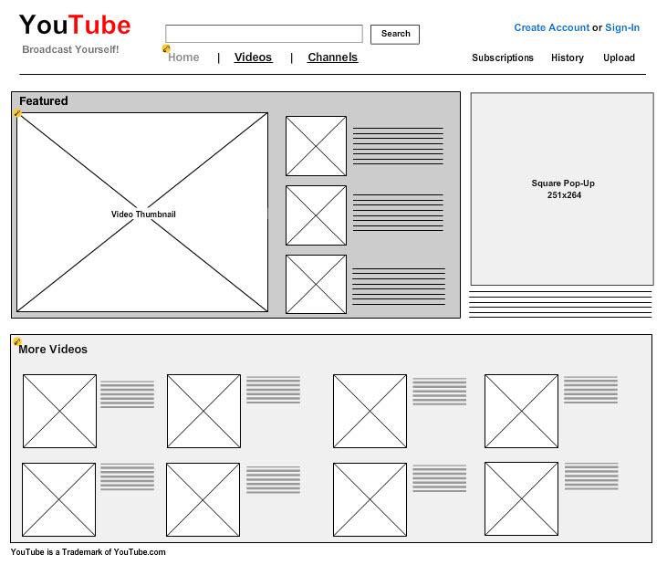 Exemple d'un mockup de la page Youtube réalisé avec Mockflow